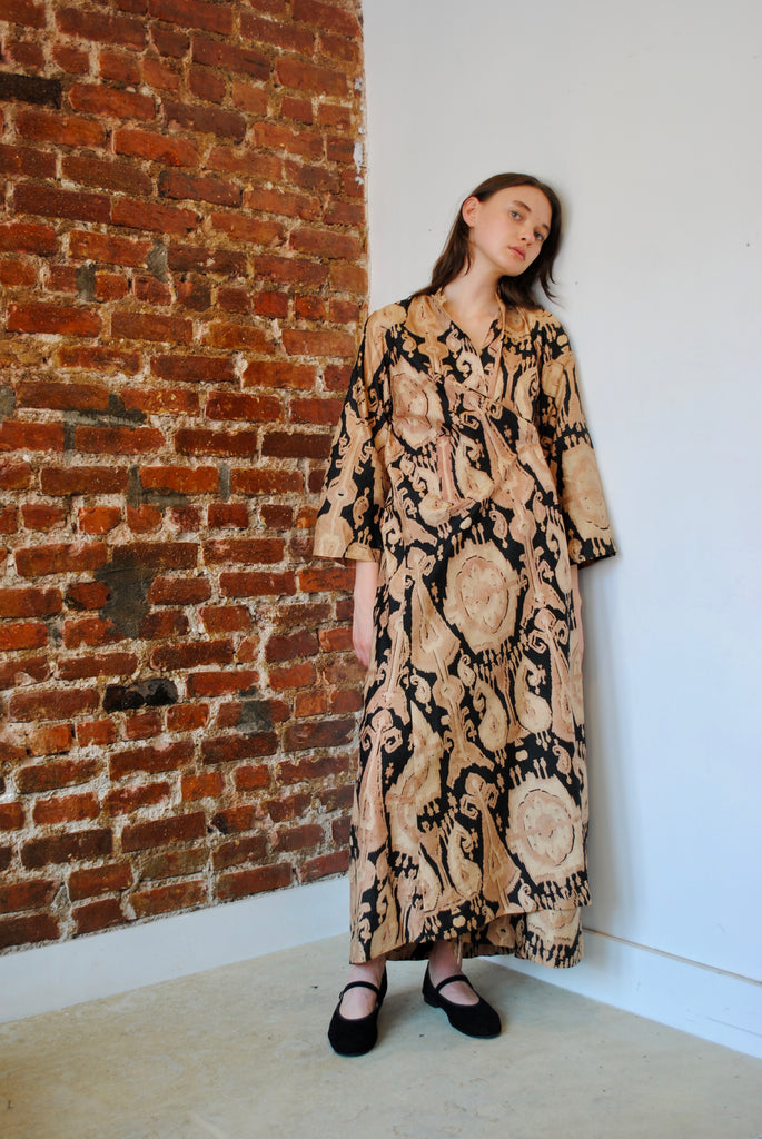 1920s Silk Ikat Dress