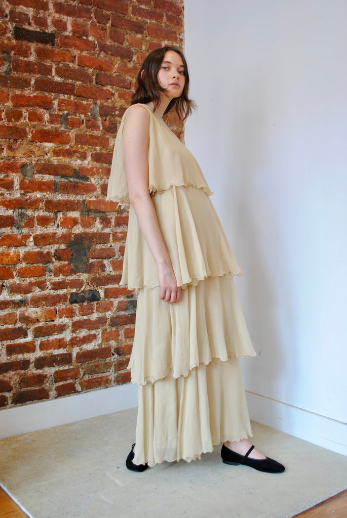 Tiered Silk Chiffon Dress