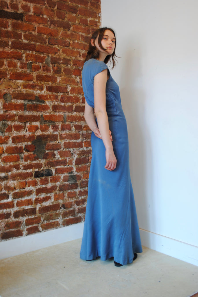 1930s Blue Silk Bias Dress