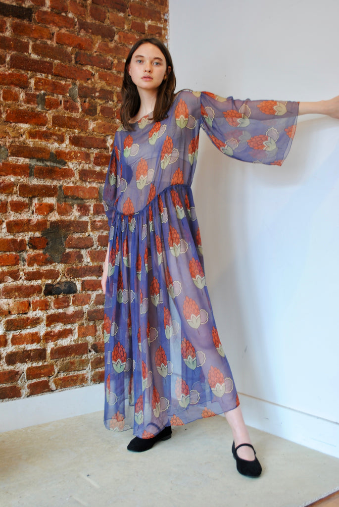 1920s Silk Chiffon Print Dress