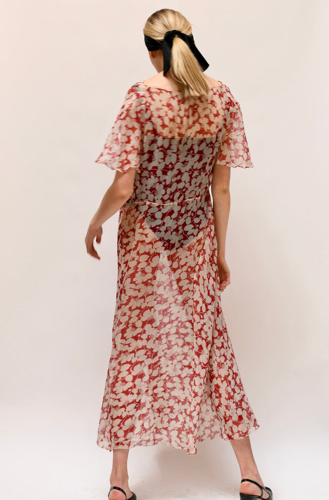 1930s Chiffon Print Dress