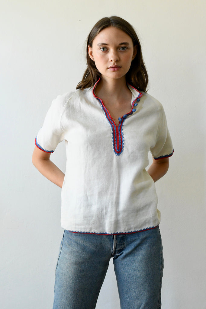 1920s Linen Trim Blouse