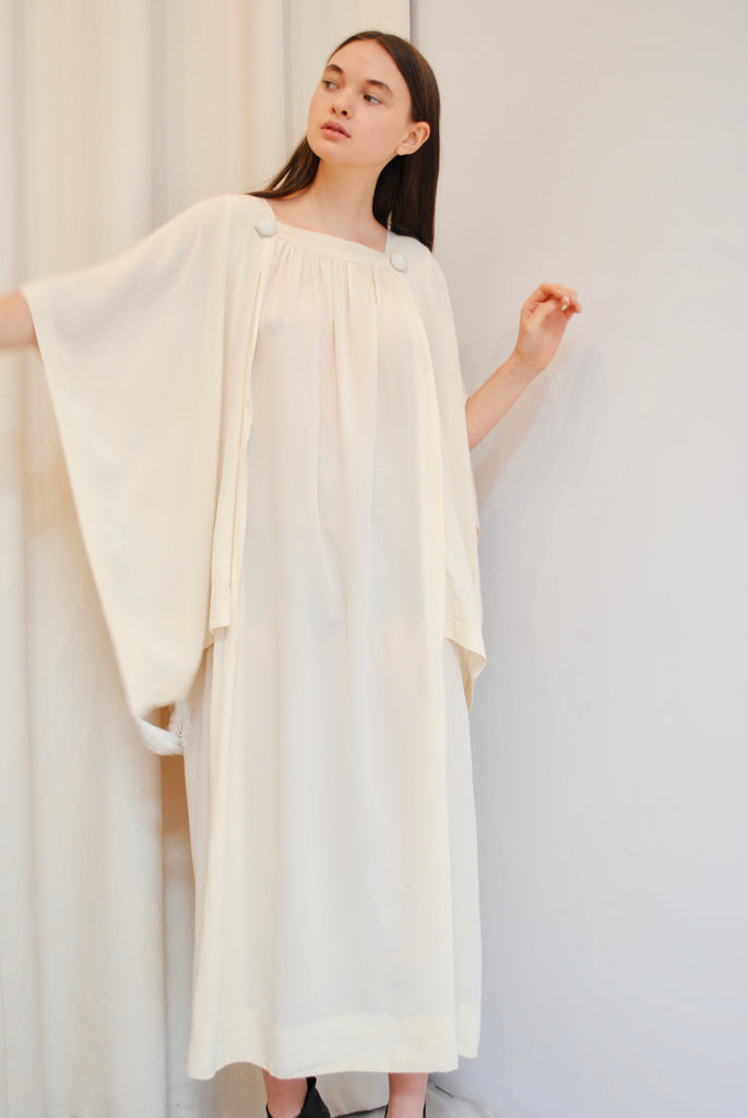 Antique Ivory Silk Dress