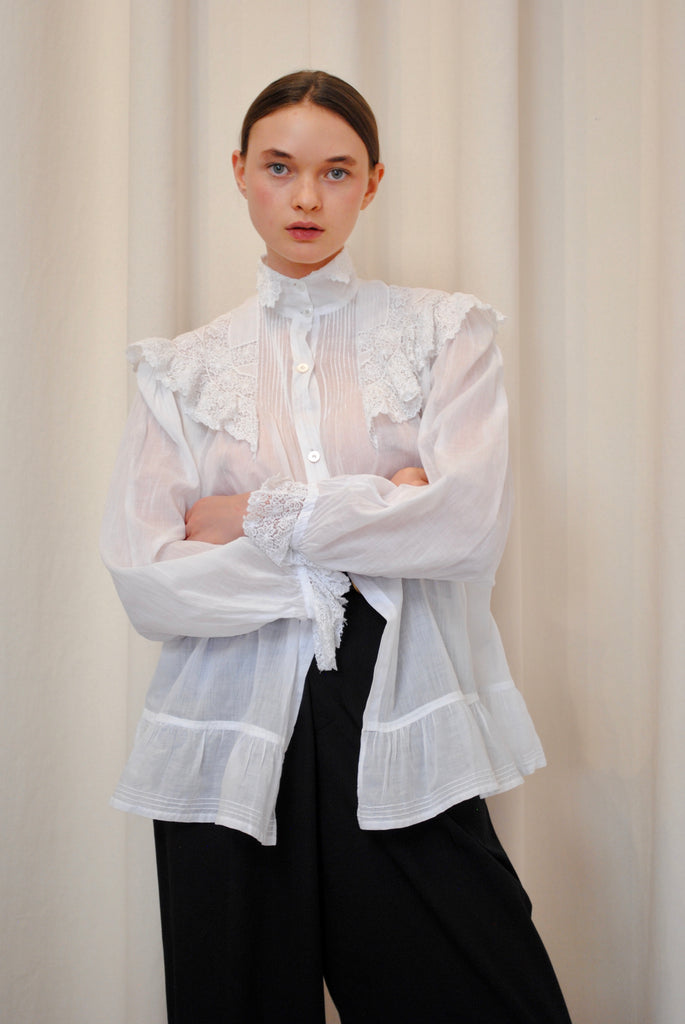Edwardian Cotton and Lace Blouse
