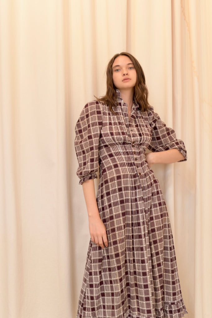 Antique Plaid Day Dress