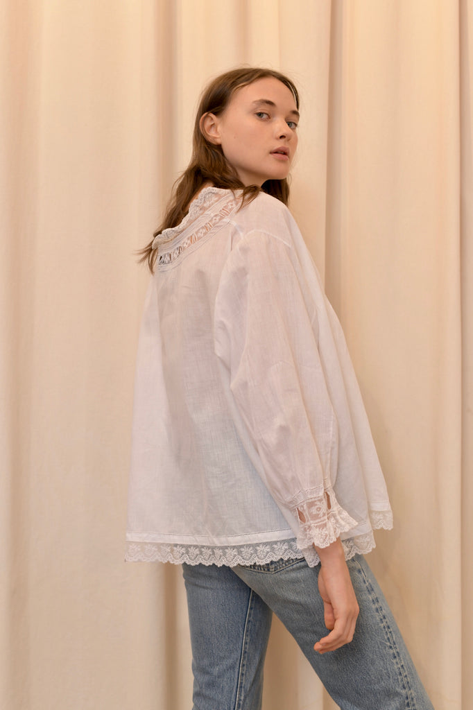 Antique Lace and Cotton Blouse