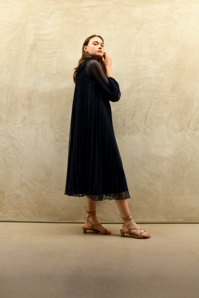 Navy Pleated Chiffon Dress