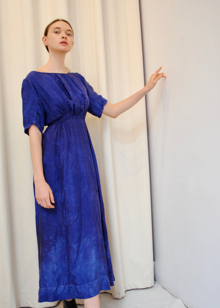 Antique Indigo Silk Dress