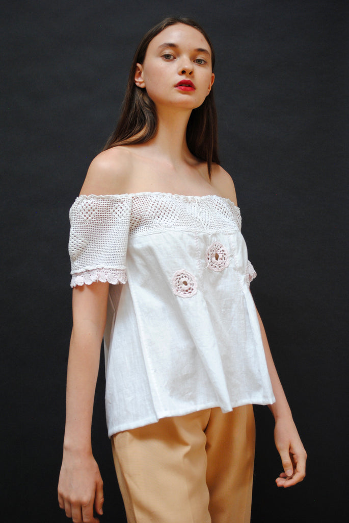 Antique Crochet Summer Blouse