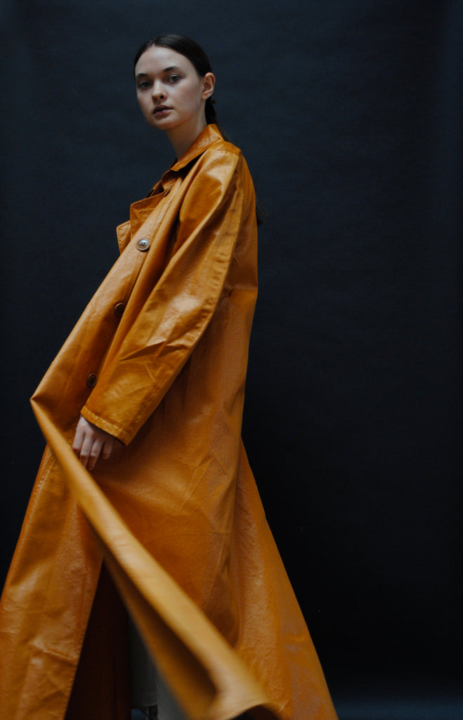 Waxed Cotton Orange Trench