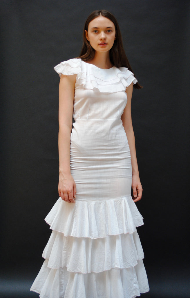 1930s Cotton Tiered Dress