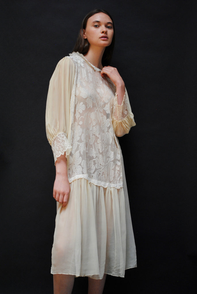 1920s Silk And Lace Dress