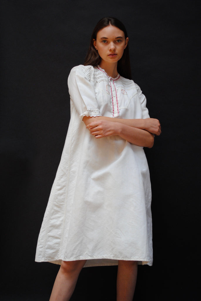 Antique Initialed Smock Dress