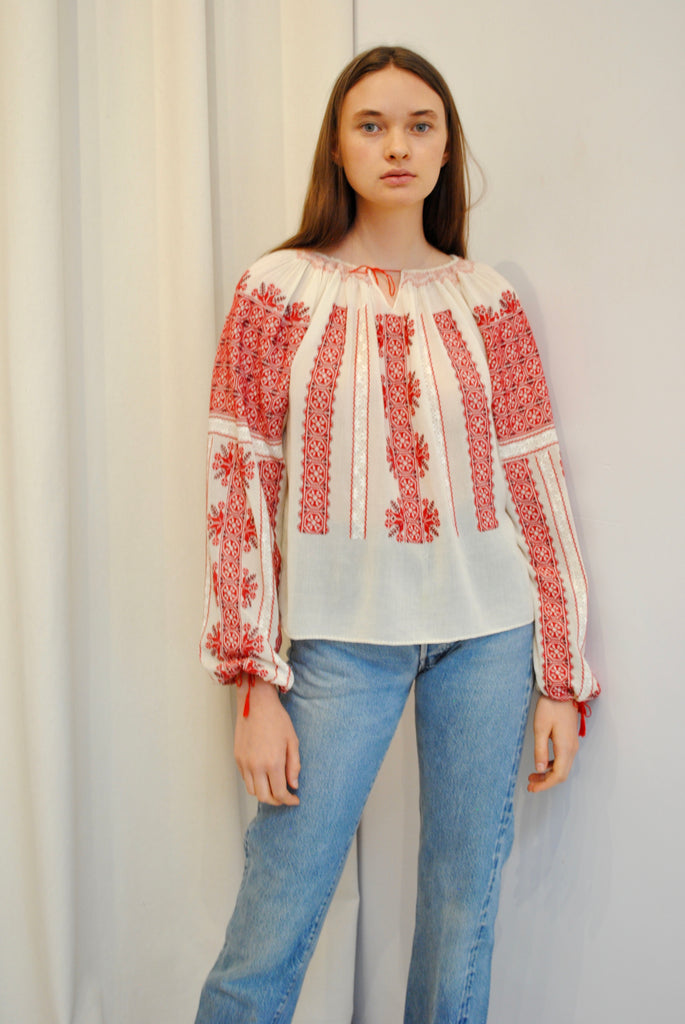 Embroidered Cotton Gauze Blouse