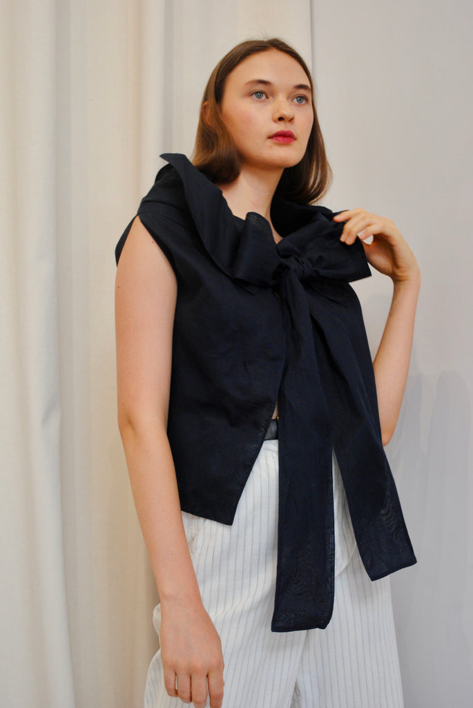 Navy Bow Blouse
