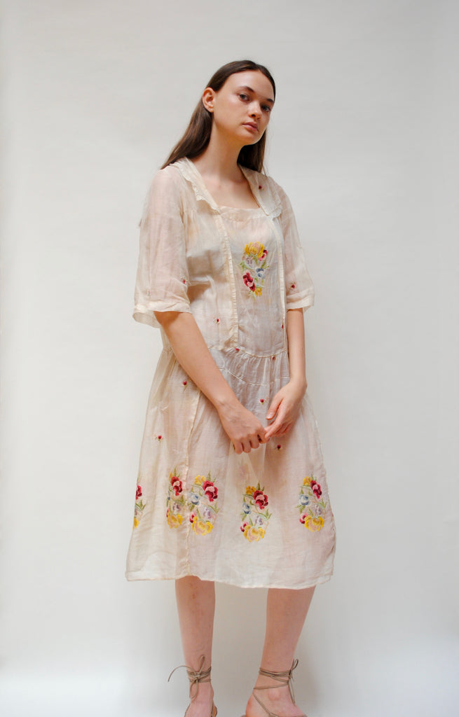 1920s Embroidered Voile Dress