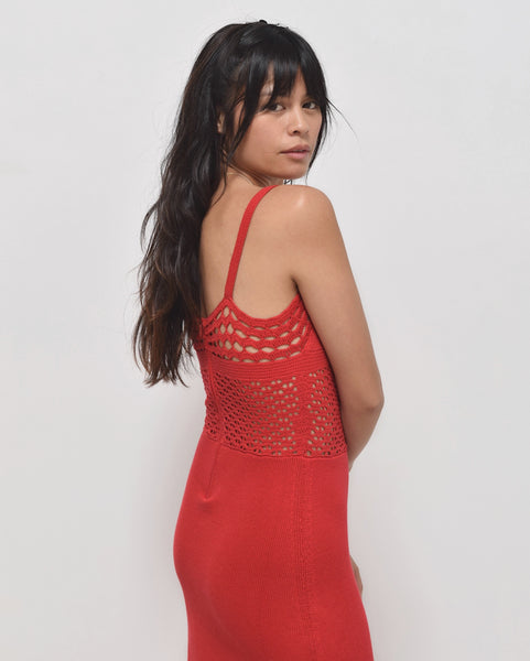 Ajaie Alaie She's A Joy Red Crochet Dress
