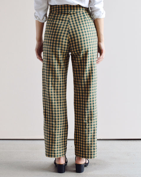 Ali Golden FUGGIAMO Silk Fly Front Pant in Gingham