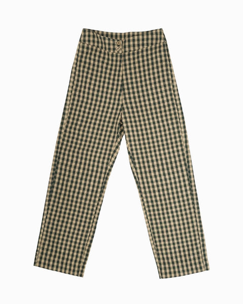Ali Golden Fly Front Pant in Gingham Raw Silk