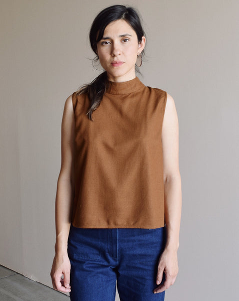 Ali Golden Mock Neck Tank in Copper Raw Silk