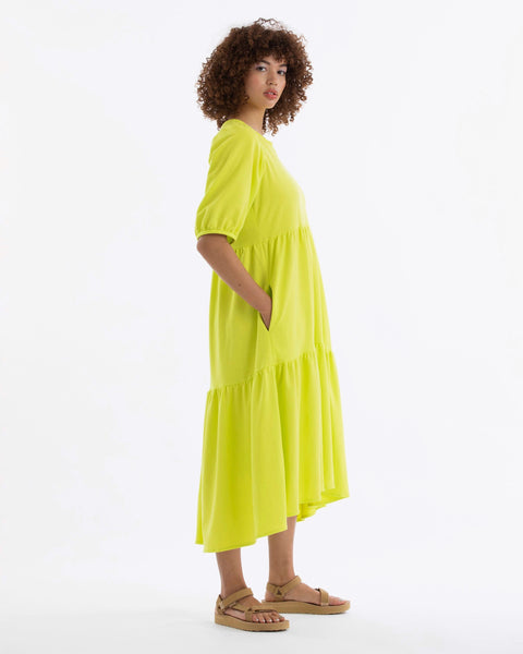 Ali Golden Party Dress in Highlighter Citron