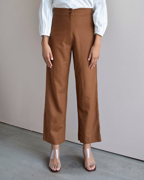 Ali Golden Fly-Front Pant in Copper Raw Silk
