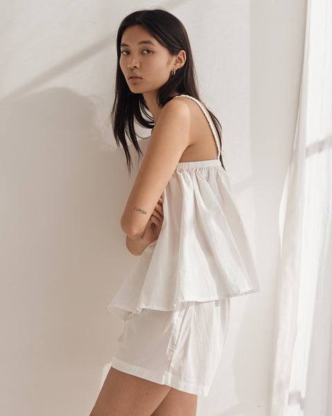 Deiji Gathered Cami Set in White