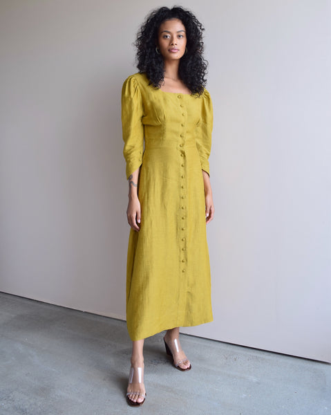 Hannah Kristina Metz Adele Dress in Mustard Silk Linen