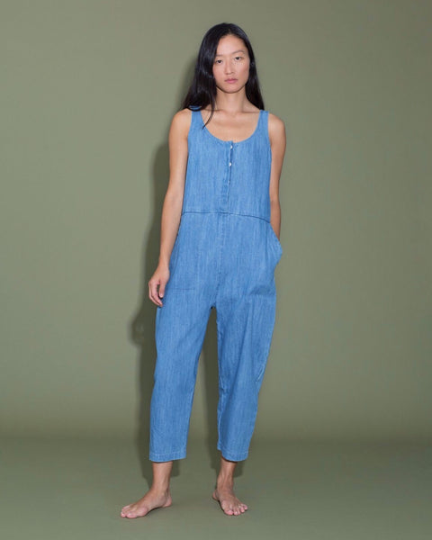 Leroy Jumpsuit in Faded Denim