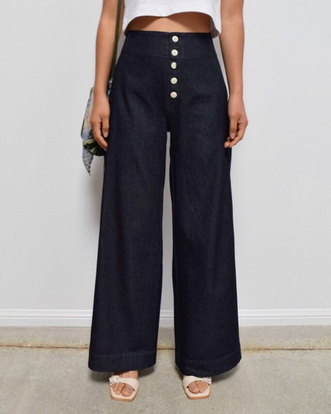 Ilana Kohn Wide Leg Sailor Mallin Pant in Dark Denim