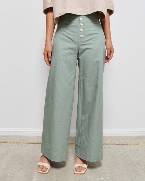 Ilana Kohn Wide Leg Sailor Mallin Pant in Jade