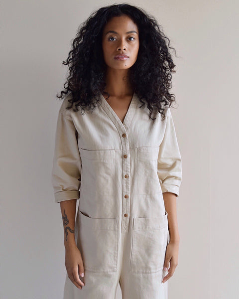 Ilana Kohn Long Sleeve Tuck Coverall Jumpsuit in Oat Cotton Twill