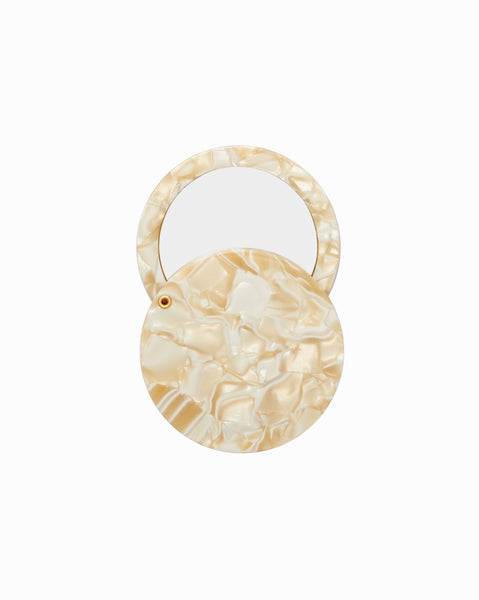 Machete Mirror Circle in Ivory Acetate