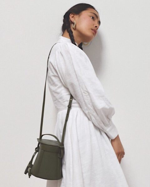 Modern Weaving Petite A-Line Bucket Bag in Safari Green