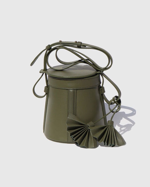 Modern Weaving FUGGIAMO Petite A-Line Bucket Bag in Safari Green