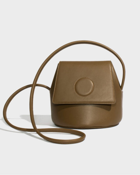 Modern Weaving Petite Trapeze Bag in Army Green Leather
