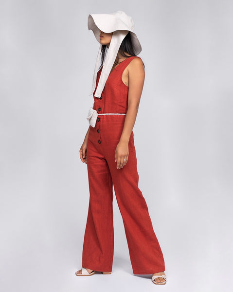 Paloma Wool Alana Linen Jumpsuit in Red