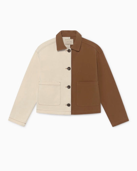 Paloma Wool Colorblock Coyote Jacket in Tan and Off-White