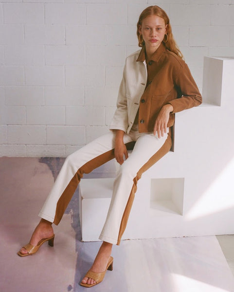 Paloma Wool Colorblock Dax Pant in Tan and White