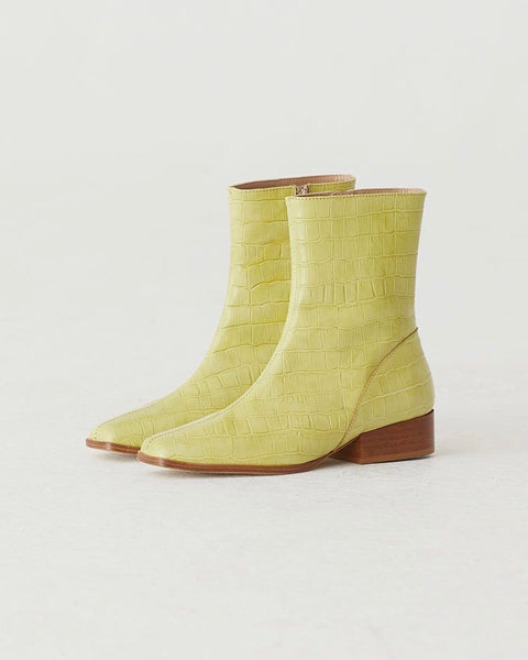Paloma Wool Edna Boot in Faux Crox Lime Green Leather