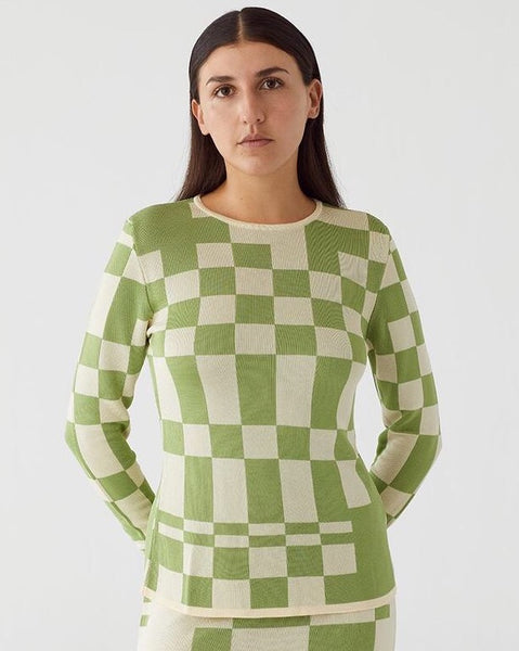 Paloma Wool El Valle Top in Lime Green Check Jacquard