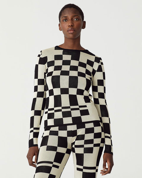 Paloma Wool El Valle Top in Black and White Checker