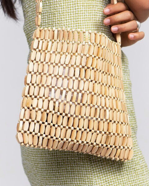 Paloma Wool Lapuyi Wood Bead Bag in Natural