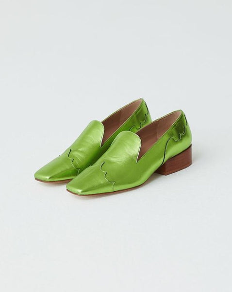 Paloma Wool Luke Leather Loafer in Metallic Green
