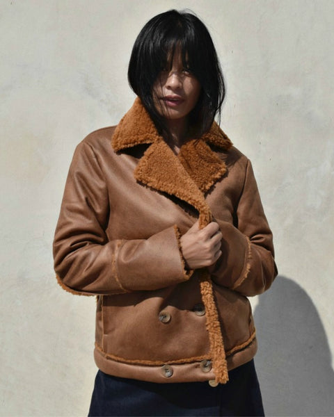 Side Party FUGGIAMO Brown Sheepskin Mina Coat