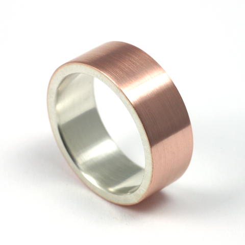 Rose Gold + Silver. 8mm. Flat. Brushed.