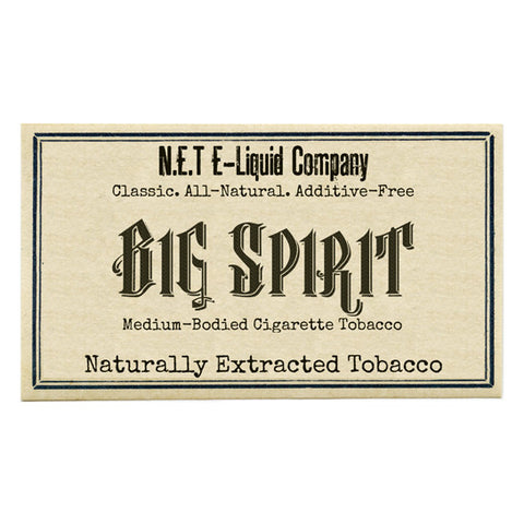 Big Spirit - N.E.T Naturally Extracted Tobacco E-Juice