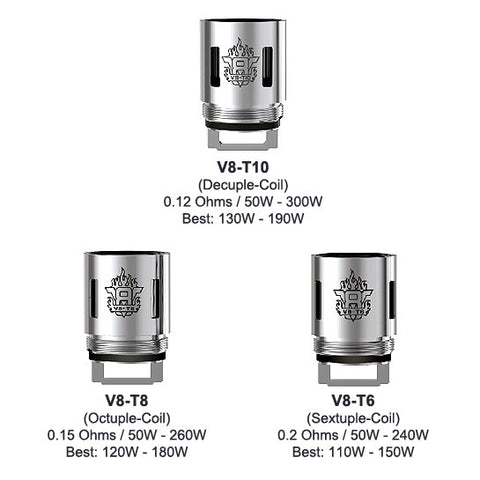 Genuine Smok™ TFV8 Coils / (Q4, T6, T8, T10) Atomizer Heads (3 Pack)