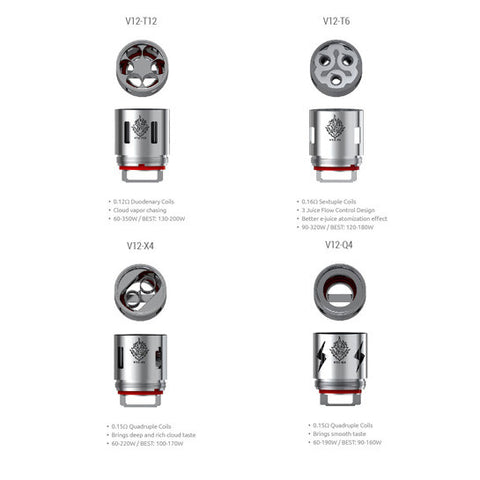 Genuine Smoktech™ TFV12 Coils / (T12, T6, X4, Q4) Atomizer Heads (3 Pack)