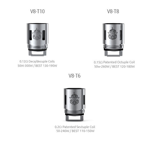 Genuine Smoktech™ TFV8 Coils / (T6, T8, T10) Atomizer Heads (3 Pack)